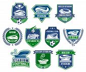 Football Sport Club Badge With Soccer Stadium. Sporting Arena For Football Tournament Event With Soc poster