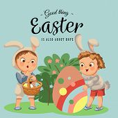 Little Girl Or Boy Hunting Big Decorative Chocolate Egg In Easter Bunny Costume With Ears And Tail,  poster
