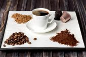 Espresso Cup, Coffee Beans, Ground Coffee, Coffee Capsule And Instant Coffee On A White Background poster