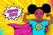 Wow Face. Cute Surprised Afro American Black Little Girl Dressed Like Superhero Shows Her Power And  poster