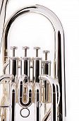 Silver Bass Tuba Euphonium On White