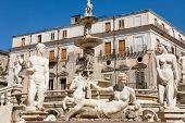 Statues Of Fountain Pretoria In Palermo, Sicily