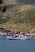 Sailboat at Ithaki island in Greece