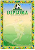 Soccer Achievement Diploma. It Can Be Use As Design For Honor, Award Or Other Sport Achievements poster