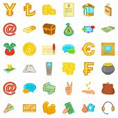 Material Assets Icons Set. Cartoon Set Of 36 Material Assets Vector Icons For Web Isolated On White  poster