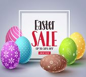Easter Sale Vector Banner Design With Colorful Eggs Elements And Sale Text In White Boarder Frame Fo poster