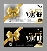 Vector Gift Card Or Voucher Template With Realistic Gold Bow Ribbon. Golden, Black And White Vip Hol poster