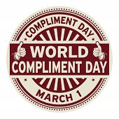 World Compliment Day, March 01, Rubber Stamp, Vector Illustration poster
