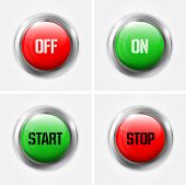 Red And Green Off And On, Start And Stop Glossy Buttons - Vector Illustration poster