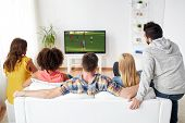 sport, people and entertainment concept - friends or football fans watching soccer game on tv at hom poster