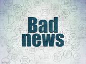 News Concept: Painted Blue Text Bad News On Digital Data Paper Background With  Scheme Of Hand Drawn poster
