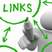 A person draws a series of links connecting in a network of referrals, representing a well search en