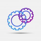 Cogwheel, Engine, Gear, Mechanism Blended Interlaced Creative Line Icon. Trendy Vector Liquid 3d Gea poster