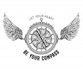 Typography Poster With Vintage Compass And Wings. Inspirational Quote. Let Your Heart Be Your Compas poster