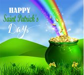 St. Patrick S Day Symbol Pot Full Of Gold Coins And Rainbow Vector Illustration poster