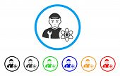 Science Engineer Rounded Icon. Style Is A Flat Science Engineer Grey Symbol Inside Light Blue Circle poster