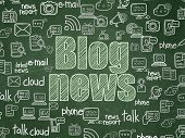 News Concept: Chalk Green Text Blog News On School Board Background With  Hand Drawn News Icons, Sch poster