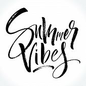 Summer Vibes Lettering. Modern Calligraphy Template For T-shirt, Home Decor, Greeting Card, Prints A poster