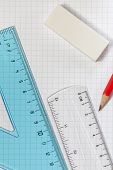 Set Square,Ruler,Pencil,Rubber