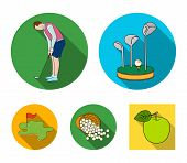Stand For A Golf Club, Muzhchin Playing With A Club, Basket With Balls, Label With A Flag On The Gol poster