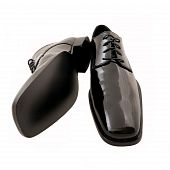 Men'S Black Tuxedo Shoes On White Background (Clipping Path Included)