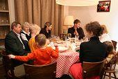 Abendessen-Großfamilie