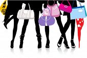 Picture of vector illustration, woman sexy legs with bags. Shopping.