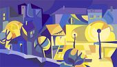 City houses and  lights at night. Vector illustration.
