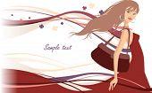Summer, shopping girl, vector illustration