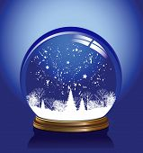 Snow globe in blue color, raster version of vector illustration