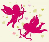 Silhouettes of Cupid for Valentines day. Vector images scale to any size.