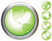 Green Earth glossy buttons. Base map generated using map data from the public domain. (www.diva-gis.
