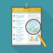 Business Report, Paper Document With Magnifying Glass.  Isolated Icon With Long Shadow. Charts Graph poster