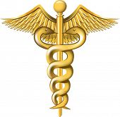 Caduceus on the white background. All elements and textures are individual objects. Vector illustrat