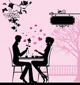 Silhouette of the couple in the cafe.  All elements and textures are individual objects. Vector illu