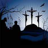 Crucifixion. Silhouettes of the three crosses and praying man. Vector illustration scale to any size