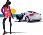 Fashion women and man in the car. All elements and textures are individual objects. Vector illustration scale to any size.