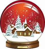 Snow globe with a town. Raster version of vector illustration.