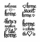 Home Motivational Quotes Lettering. Sweet, Welcome, Where Your Heart Is, No Place Like poster