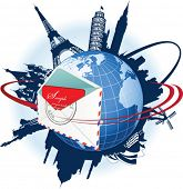 Global e-mail concept. All elements and textures are individual objects. Vector illustration scale to any size.
