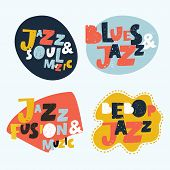 Jazz Typographic Vector Brightest Colorful Expression Illustration  Stickers. Music Hand Drawn Lette poster