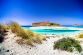 Amazing view of Balos Lagoon with magical turquoise waters, lagoons, tropical beaches of pure white  poster