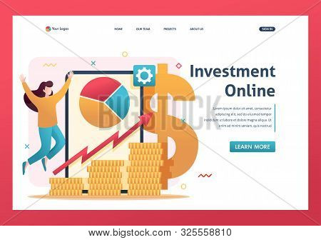 poster of Online Investment Management, Investors Invest In Stocks And Online Assets. Flat 2d Character. Landi