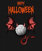 Happy Halloween. Devil Volleyball Ball. Volleyball Ball With Horns, Wings And Devil Tail. Design Pat poster