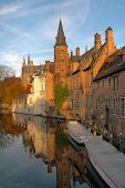 Buildings Along Canal In Brugges, Belgium