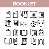 Booklet And Brochure Collection Icons Set Vector Thin Line. Booklet And Letterhead, Flyer And Leafle poster