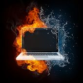Laptop in Fire and Water isolated on black Bacground.