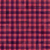 Watercolor Stripe Plaid Seamless Pattern. Dark Purple Color Stripes On Red Watercolour Background. H poster