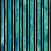 Watercolor Teal Blue Stripes Background. Black And Turquoise Striped Seamless Pattern. Watercolour H poster