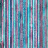 Watercolor Colorful Stripes Background. Blue Teal Pink Striped Seamless Pattern. Watercolour Hand Dr poster